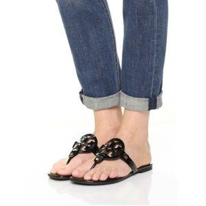 Tory Burch Miller Flip Flop Sandal Patent Black 9
